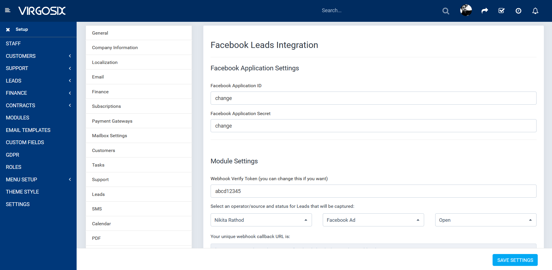 facebook leads integration in crm